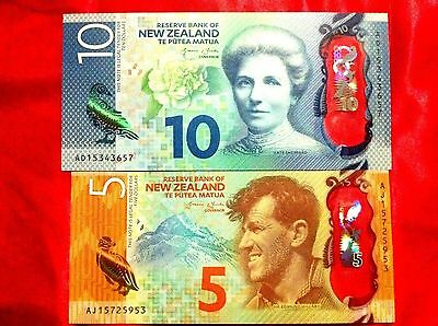 New Banknote Zealand Nz $5 & $10 Unc New Polymer Design Gem Bank Notes
