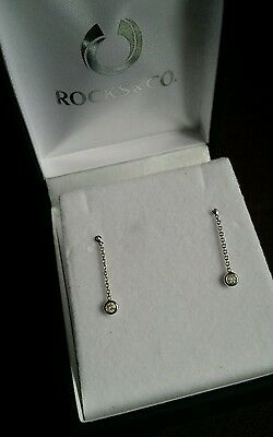 9ct Solid Gold .10carat Authentic Natural Diamond drop earrings. New boxed.