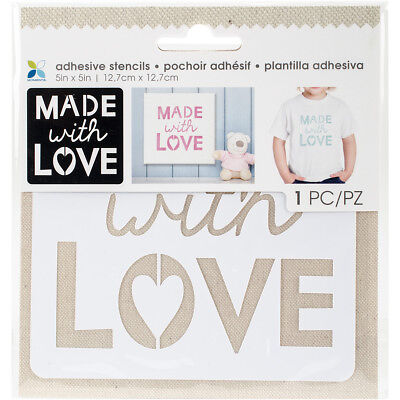 "Momenta Adhesive Stencils 5""X5"" Made With Love 27724"