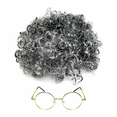 Kids / Adults Granny Fancy Dress Grey Curly Wig & Glasses (WORLD BOOK DAY)