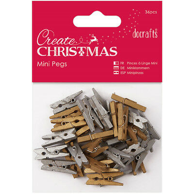 Papermania Create Christmas Mini Pegs 36/Pkg Gold & Silver PM174923