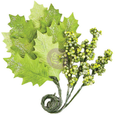 Prima Marketing Glittered Leaf & Berry Stems Evergreen; Bright Green 590406