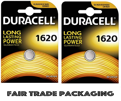 2 x Duracell CR1620 3V Lithium Button Battery Coin Cell DL1620 - UK Deal