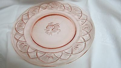 """Depression Glass """"rosemary"""" Plate Pink 10 1/2"""" Federal Glass 1930's"""