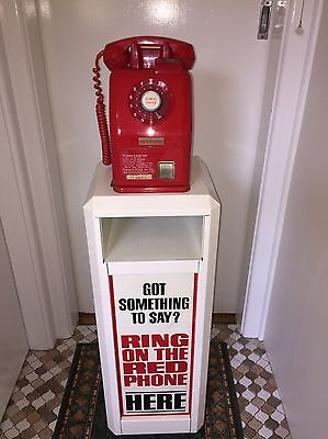 Vintage Red Pay Phone 20 And 10 Cent With Original Stand.