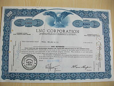 American Share Certifcate 1962 Lnc Corporation