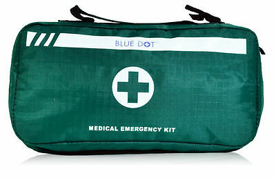 Blue Dot Empty Medical Emergency Kit First Aid Grab Bag w/ Compartments 13839BD