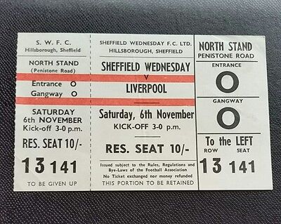 1965/66 SHEFFIELD WEDNESDAY v LIVERPOOL  division one unused  ticket CHAMPIONS