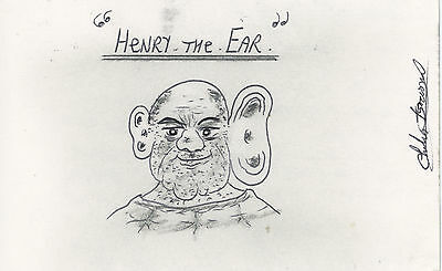 Charles Bronson SIGNED AUTOGRAPH and Prison Artwork Henry The Ear AFTAL