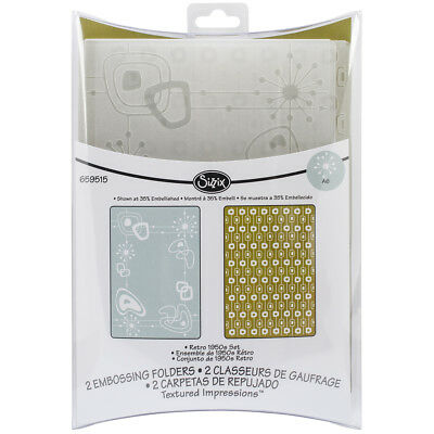 Sizzix Textured Impressions A6 Embossing Folders 2/Pkg Retro 1950S 659515