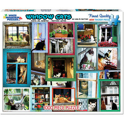 "Jigsaw Puzzle 1000 Pieces 24""X30"" Window Cats WM986"