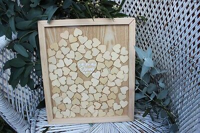 Wedding Wooden Guest Book / Drop Box Frame with Hearts / Free Stand