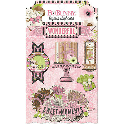 Sweet Moments Adhesive Layered Chipboard W/Glitter & Gems 20409687