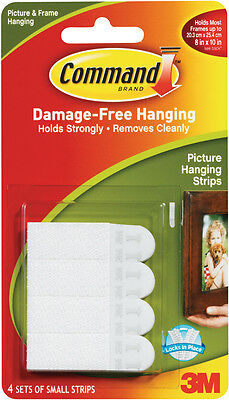 Command Small Picture Hanging Strips White 4 Sets/Pkg 17202