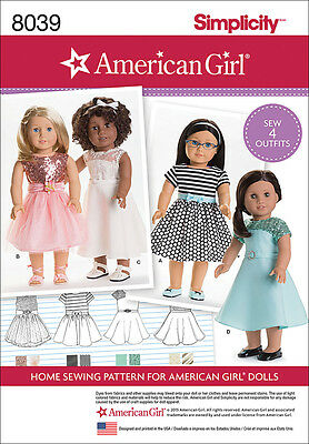 Simplicity American Girl Doll Clothes For 18 Doll One Size *PATTERN* US8039OS