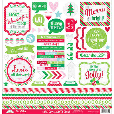 """Here Comes Santa Claus Cardstock Stickers 12""""X12"""" This & That HCSC5360"""