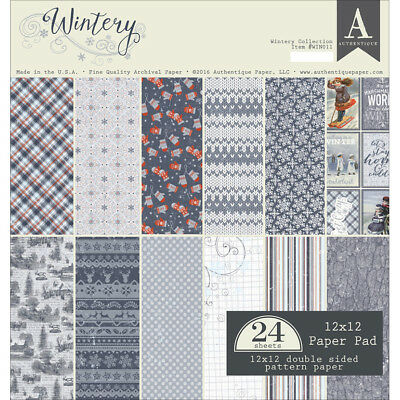 """Authentique Double Sided Cardstock Pad 12""""X12"""" 24/Pkg Wintery, 12 Designs/2 Each"""
