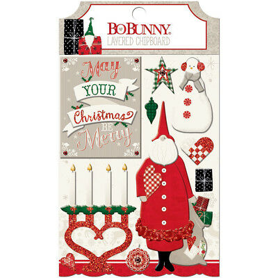 Merry & Bright Adhesive Layered Chipboard W/Glitter & Gems 20309664