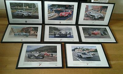 Limited edition racing car prints set of 8