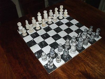 Hand Carved Onyx Chess Set And Board.