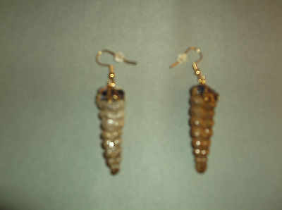 REAL HANDMADE RATTLESNAKE RATTLE EARRINGS, Gold Color Hook Wire