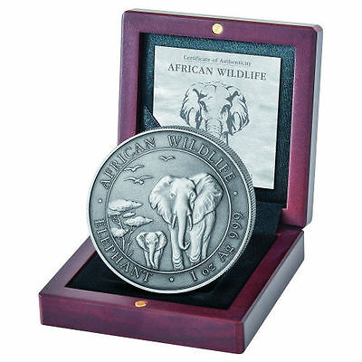 2015 Somalia African Wildlife Elephant 1 oz .999 Silver Coin - Antique Finish