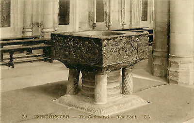 Original 1900s Postcard Font WINCHESTER Cathedral Hampshire