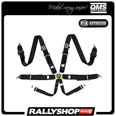 """NEW 2017! FIA QMS 6 Point Harness 3"""" BLACK Belts Quick release Racing Rally"""