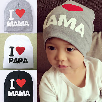 Delicate White Baby Knitted Warm Cotton Beanie Kids Girl Boy Letter Print Hats