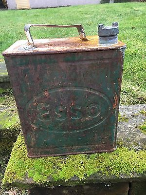 Old Vintage Esso Petrol Can With Original Cap
