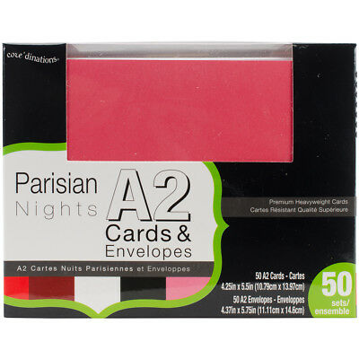 Core'dinations Smooth A2 Cards W/White Envelopes 50/Box Parisian Nights GX8000-8