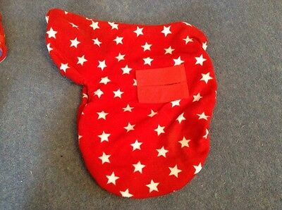 ride on saddle cover red and white stars