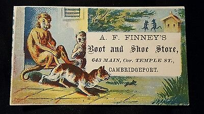 Small Antique Victorian Trade Card A.F. Finney Boot Shoe Store Cambridgeport