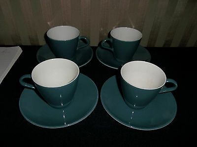 Poole Pottery Blue Moon Cups & Saucers x 4