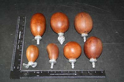 Vintage Set Of 7 Musical Rattle Gourds Silver Over Copper Handle Tribal Unique