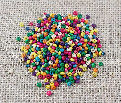 10g of 4mm x 2mm Multi Coloured Wooden Spacer beads-Jewellery [BUY 3 GET 3 FREE]