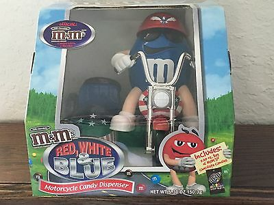 M & M's Motorcycle Candy Dispenser Red White & Blue w/Side Car 2006 EUC!