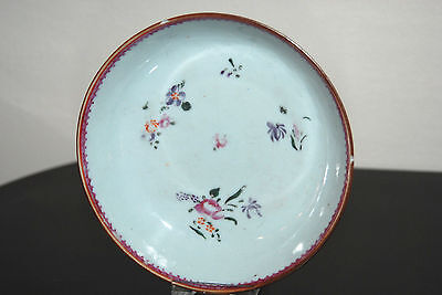 Antique Chinese 18th century Yongzheng porcelain Batavian polychrome saucer