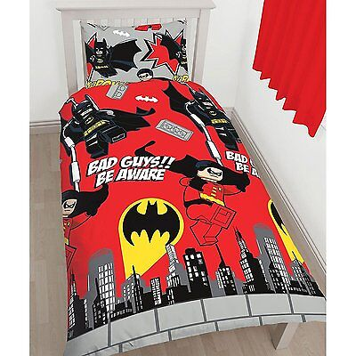 "Lego Batman & Robin Dc Comics ""kapow"" Single Cover Duvet Set Quilt Kids Bedding"