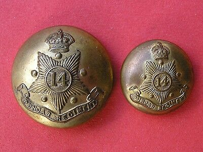 14th PUNJAB REGIMENT, INDIAN ARMY 1922-47, LARGE & MEDIUM BRASS MILITARY BUTTONS