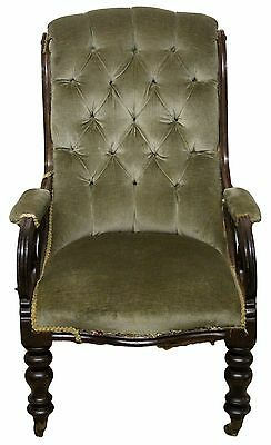 Victorian Antique Mahogany Upholstered Armchair in Green Button Stitched Fabric