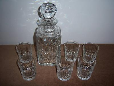 EARLY EDINBURGH CRYSTAL APPIN SPIRIT DECANTER & SIX WHISKY TUMBLERS (All Signed)