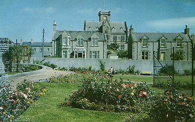 Original 1973 Postcard Town Hall and corner King George VI Playing Field LERWICK