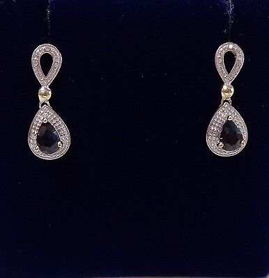 Pear Shaped Sapphire and Diamond Drop Earrings in 9ct Yellow Gold