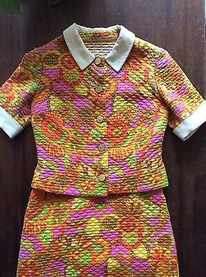 Vtg Original 60s Psychadelic Quilted Jacquard Skirt Suit Retro Floral Jackie O 8