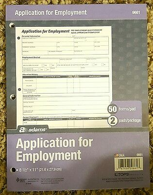 Adams Applications for Employment 8.5 x 11 Inch 3-Hole Punched 9661 2 pads of 50