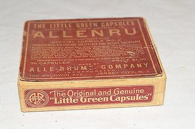 Vtg ANTIQUE Quack-Medicine ALLENRU Capsule SEALED Cardboard ADVERTISING Pill Box