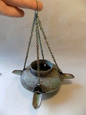 Ancient Islamic Silver Oil Lamp