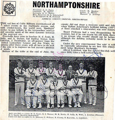 Northants Ccc Signed 1969 Team Picture Inc Colin Milburn