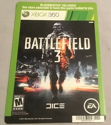 Backer Card For: Battlefield 3 - XBOX 360 - (Not The Video Game)
